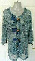 ❤ CASAMIA 22 (M/L) Blue White Mesh Style Lagenlook Blouse Top Wooden Buttons