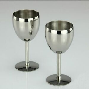 2Pcs Champagne Cocktail Drinkware Stainless Steel Wine Glasses Bar Wine Alcohol
