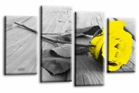 Rose Floral Canvas Picture Yellow Grey White Flower Love Wall Art Split 4 Panel