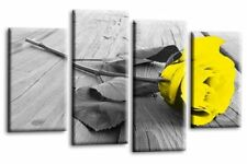 Le Reve Floral Rose Canvas Wall Art Large Yellow Grey White Love 4 Panel Split