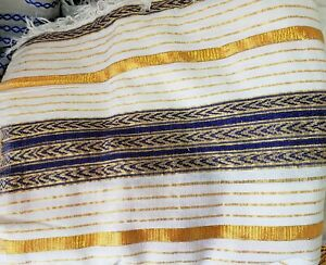 Ethiopian/Eritrean Hand Made Blanket (Gabi) Made out of Natural 100% cotton.