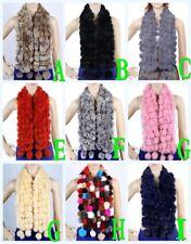 Winter Warm Fashion Long Real Rabbit Fur Scarf Women Shawl Scarves Accessories