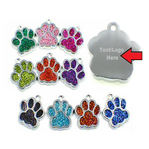 😻 Personalised Engraved Glitter Pet Tags Dog Cat Charm Name Neck Collar Tag 🐶