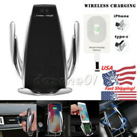 Automatic Clamping Qi Wireless Car Charger Stand Mount Holder For iPhone Samsung