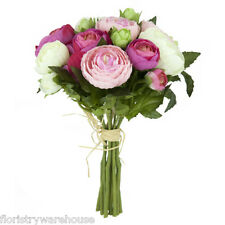 """Beautifully Detailed Artificial Ranunculus Posy in Cream and Pink 23cm/9"""""""