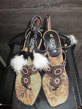 El Dantes black leather high heels sandals size 40 made in Spain