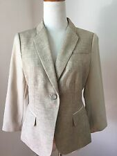 NEW the limited jacket blazer Sz S faux leather sleeves linen look tan