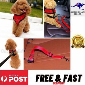 Dog Puppy Soft Mesh Vest Adjustable Harness Braces & Car Seat Belt Leash Lead-AU