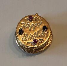 14KT SOLID GOLD Happy Birthday Cake charm pendant HEAVY 9.68 grams Not Scrap!