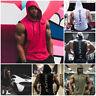 UK Men Hoodie Vest Muscle Stringer Bodybuilding Gym Tank Tops Hooded T-Shirt Tee
