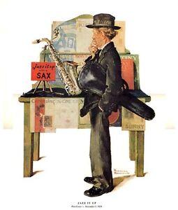 Norman Rockwell Saxophone Print JAZZ IT UP