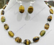 NATURAL TIGER'S EYE OVAL GEMS & TRUE WHITE CULTURED PEARL NECKLACE EARRINGS SET