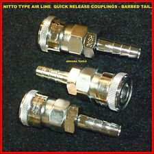 AIR LINE QUICK RELEASE SOCKET COUPLINGS BARBED TAIL- 3PCE PACK- BRAND NEW.