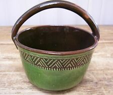 Treimane Val David Green Basket Art Pottery Quebec Canada Canadian