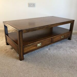 Vintage Solid Wood 2 Drawer Lower Shelf Coffee Table Dovetails Brass Handles