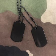Pair of US GI Vietnam style American Army Metal Dog Tags - Black