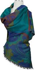 Pashmina Schal Wolle Floralmuster Blau blue Braun wool scarf purple écharpe