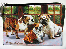 New English Bulldog Zippered Handy Pouch Make-up/Coin Purse Bull Dog 3 Dogs
