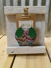 Double layer faux leather Mardi Gras Handcrafted Earrings