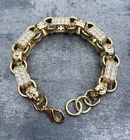 Gold XXL Gypsy link 18ct gold filled belcher bracelet Heavy solid CZ stones