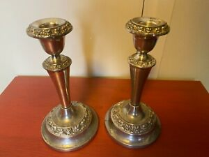PAIR OF VINTAGE SILVER PLATE IANTHE  CANDLESTICKS 19 cm or 7.5 inches.