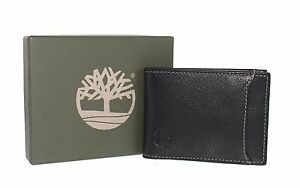 NEW Timberland Men's Wallet Black Genuine Leather Filp Clip With Free Postage