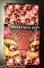 NEW 2 PIECE SET CHEETAH MASK & TIGHTS Women's SIZE M CHEETAH STOCKINGS COSTUME