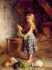 CHOP362 100% hand-painted village little girl &rabbit art oil painting on canvas