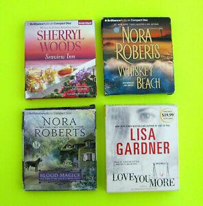 ROMANCE & MYSTERY Lot of 4 CD AudioBooks Nora Roberts Sherryl Woods Lisa Gardner