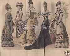 Staircase-Victorian Era Dresses-1878 ANTIQUE VINTAGE COLOR ART PRINT-May-Fashion