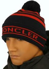 NEW MONCLER SIGNATURE BLUE RED 100% WOOL POM POM BEANIE HAT ONE SIZE