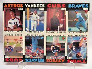 1986 O-Pee-Chee Canada 8-Card Baseball Uncut Sheet, Guidry, Speier, Davis