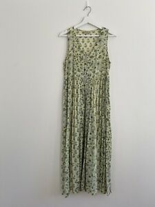 Tree Of Life 100% Cotton Maxi Dress Size M (10-12) GUC Green Floral Paisley