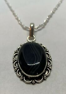 """Black Onyx Silver Plated Alloy Pendant Solid 925 Silver Chain 19"""""""