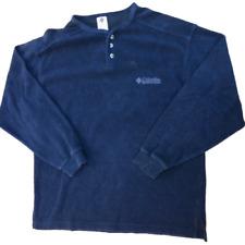 Columbia 3 Button Long Sleeve Fleece Pullover, Men's Size Large, Lightweight Usa
