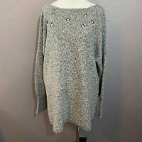 Lane Bryant Size Women's 18/20 Gray Boat Neck Sweater Cotton Blend Rivet Holes