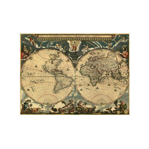 Old Retro World Map Poster Canvas Print Art Wall Decor