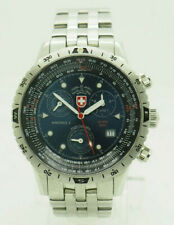 CX Swiss Military Air Force 1 S/2444 S. Steel Chronograph Blue Dial 42mm Watch