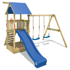 WICKEY Spielturm Kletterturm Smart Echo Holz Doppelschaukel Sandkasten Rutsche