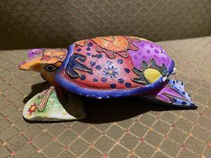 Colorful Carved Wood Turtle Trinket Box