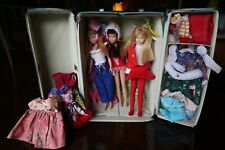 3 x Vintage 1960's Skipper Dolls with Blue Skipper Carry Case Lot