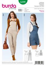 Burda Ladies Sewing Pattern 6599 Long & Short Dungarees (Burda-6599)