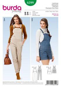 Burda Ladies Sewing Pattern 6599 Long & Short Dungarees (Burda-6599)