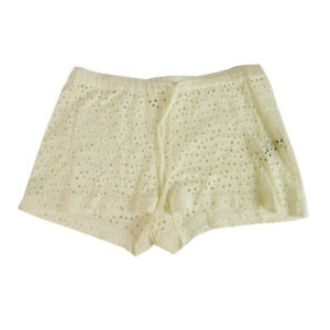 Majestic Filatures White Broderie Linen Shorts Summer Holiday - Size 1