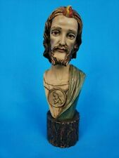 Jesus Christ Bust Head Statue 9.5 inches on a Wooden Look Ceramic Base ~ Italy
