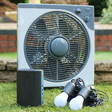 PK Green 12V DC Fan with Lithium Battery + 2 LED Bulbs, Portable Ventilation Kit