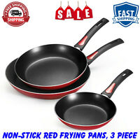 "Tramontina Everyday 8"", 10"" and 12"" Non-Stick Red Frying Pans, 3 Piece, Kitchen"