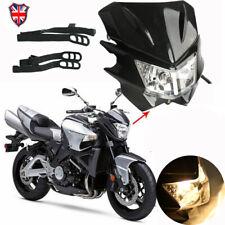 Universal Motorcycle LED Headlight Lamp Fairing Street Fighter Dirt Bike Black