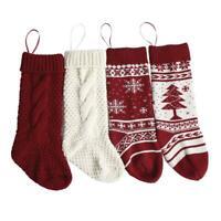 2 Pairs Christmas Knit Stockings Xmas Tree Snowflake Candy Gift Decoration