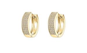 14k Gold Silver Black Small Lab Diamond Huggie Women Men HOOP EARRINGS